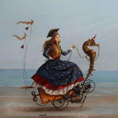 """Catherine Chauloux - Les Déjantés """"The Lady with the Dragon"""" Surreal Artwork, Photo D Art, Magic Realism, Figure Painting, Unique Art, Amazing Art, Fantasy Art, Steampunk, Illustration Art"""