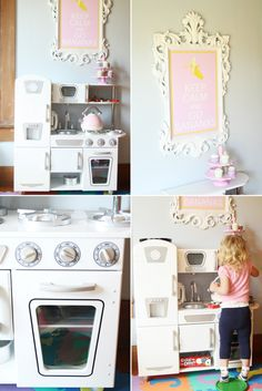 """Kitchen that works as a unisex kitchen and works with our design scheme! Available at Costco!!! Paige of paigesofstyle.com says: """"less than $150, it's just a no-brainer. I really wanted a white one and was lucky enough to spot it on zulily but the Kidcraft kitchen is also available at Costco in other colors."""" From: """"pink,yellow and gray playroom"""""""