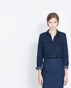 DARK BLUE SHIRT - Shirts - Woman - New collection | ZARA Thailand