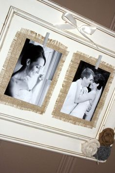 i like the idea of using black & white photos on burlap! i will use my old cabinet doors and change to a classier clips love this idea Burlap Projects, Burlap Crafts, Diy Projects To Try, Wood Crafts, Craft Projects, Diy Crafts, Cabinet Door Crafts, Cabinet Doors, Diy Tableau