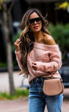 pink off-the-shoulder sweater