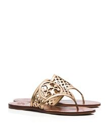 Tory Burch, Thatched Perforated Metallic Thong Sandal