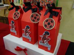 SD Eventos: MIRACULOUS LADYBUG Ladybug Party Candy Bar Golosinas personalizadas Party favors Bolsitas golosineras Cajitas golosineras