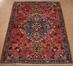 3x5 ANTIQUE PERSIAN HERIZ TRIBAL Hand Knotted Wool TERRACOTTA BLUE Oriental Rug #FinePersianHerizPictorial