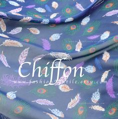 feather prints Blue Chiffon faux silk fabric by the yard Blue Fabric, Silk Fabric, Feather Print, Blue Fashion, Alexander Mcqueen Scarf, Blue Dresses, Chiffon, Yard, Trending Outfits