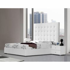 $1370 Modrest Lyrica - Leatherette Eastern King Bed with Tall Headboard - Click to enlarge