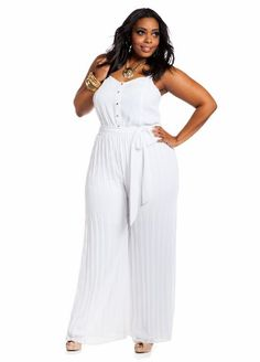 ashley stewart: embellished keyhole self-tie plus size jumpsuit