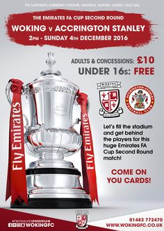 Woking Football Club | News | Get behind the Cards in the Emirates FA Cup Second Round!