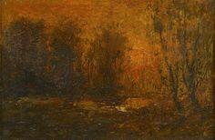 John Francis Murphy, American Tonalist, Wooded Sunset, oil on canvas, 12 x 18