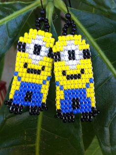 Minion Inspired Beaded Earrings by  PazMorada