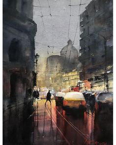 Watercolor painting by Maria Cornea Online Art Gallery, Art Day, Insta Art, Watercolor Paintings, Cityscapes, Street, Artwork, Artist, Photographs