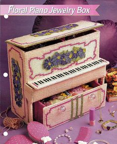 Floral Piano Jewelry Box Plastic Canvas Pattern Annies Fashion Doll Plastic Canvas Club. $6.00, via Etsy.