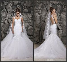 berta bridal Sexy Luxury Backless Lace Sheer Tulle Mermaid Wedding Dresses Covered Button Spaghetti Straps Winter Bridal Evening Gown BO4801