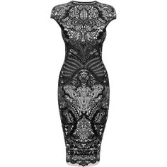 Alexander McQueen Black Victorian Puckering Lace Jacquard Cap-Sleeve... (£1,040) ❤ liked on Polyvore featuring dresses, vestidos, short dresses, alexander mcqueen, lace pencil dress, black cocktail dresses, short lace dress and black lace dress