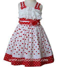 Girls Minnie white and red polka dot dress, perfect for a Disney vacations and visit Minnie Mouse! She will love to see you! Removable bow that can be turned into a hairbow! Fully lined with petticoat underneath and sash on the back! Simply gorgeous! Runs true to size.