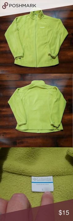 Women's lime green Columbia fleece jacket, large Women's lime green Columbia fleece jacket, full zip, size large.  There is one super small spot shown in pic.  Other then that it is in really good condition. Columbia Jackets & Coats