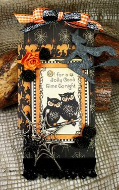 Halloween Tag using Creative Embellishments Chipboard and Graphic 45 Happy Haunting collection. Halloween Paper Crafts, Halloween Tags, Halloween Projects, Holidays Halloween, Vintage Halloween, Halloween Decorations, Handmade Tags, Greeting Cards Handmade, Halloween Scrapbook