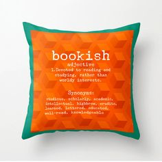 Book Lovers decorative throw pillow - Bookish cushion - orange turquoise - home decor - pillow cover, cushion cover, gifts for readers
