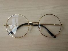 84f791ba055 Women Vintage Glasses Frame Plain Mirror Big Round Metal Optical Frame For  Girl Eyeglass Clear Lens