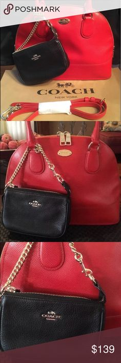 Coach Cora Red/Orange leather+Chain Case Wallet Please share and follow me Check out my coach closet  Coach Cora domed leather satchel Beautiful red/orange color Preowned, can't see any visible wear  Excellent condition. Clean   Zip closure Fabric lining Double handles - 4.75 inches Detachable shoulder strap - 21.5 inches Inside - zip pocket; 2 slip pockets Tapered 11-12 in. (W) x 9 in. (H) x 5 in. (D) MSRP - $395 / Wristlet $128  matching black wristlet wallet with chain link strap.  Can…
