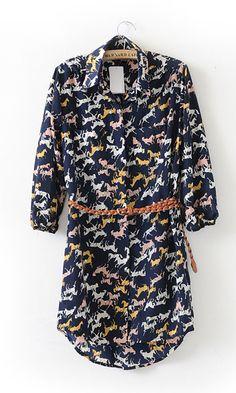 Blue Vintage Horse Print Three Quarter Length Sleeve Dress