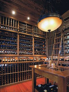 Wine cellar ideas. Love the ladder.