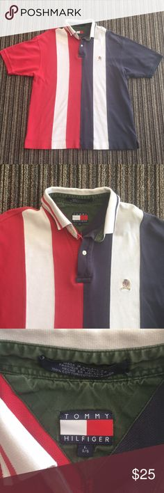 Vintage Tommy Hilfiger Polo Shirt Men's Large No Holes Or Tears. T1 Tommy Hilfiger Shirts Polos