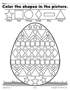 Easter Math Worksheets Kindergarten Easter Coloring Pages for Grade Easter Worksheets Nd Easter Worksheets, Shapes Worksheets, Kindergarten Worksheets, Printable Worksheets, In Kindergarten, Preschool Activities, Number Worksheets, Coloring Worksheets, Printable Coloring