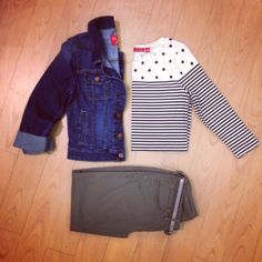 Denim jacket + stripes + military flair = a triple trend!