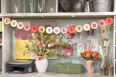 Congratulations Banner, use smaller for flower arrangements! Cute