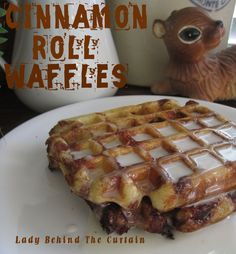 Cinnamon Roll Waffles with Cream Cheese Syrup (just put refrigerated cinnamon rolls on the waffle iron!)