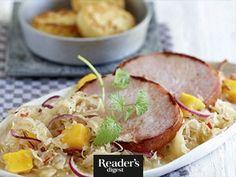 Kasseler mit Mangokraut Sauerkraut, Chili, Mango, Readers Digest, Pork, Beef, Recipes, Meat, Food Food