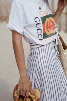graphic tee and skirt