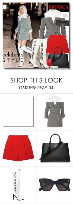 """""""Celebrity: Monica"""" by prettynposh2 ❤ liked on Polyvore featuring Monse, Alice + Olivia, Louis Vuitton, Off-White, CÉLINE, tarte, celebrity, louis, off and Monica"""