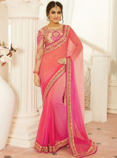 Pink Chiffon Saree With Embroidered Blouse 94475