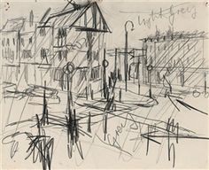 Artwork by Frank Auerbach, Sketch for Camden Town, Made of pencil on paper
