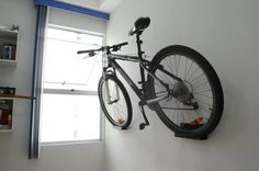 Bike Hanger, Bike Rack, Bike Storage Solutions, Bicycle Storage, Creative Storage, Garage Organization, Shelving, Furniture Design, Shed