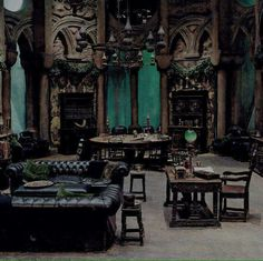 Listen online to the sound mix called: Slytherin Common Room.---> this page is amazing. the slytherin common room is the coolest. i just can't take the sounds of the other houses Gothic Interior, Gothic Home Decor, Interior Design, Interior Office, Interior Modern, Interior Ideas, Slytherin Aesthetic, Harry Potter Aesthetic, Slytherin House