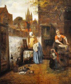 dutch paintings   Courtyard, Delft (1650s) by Pieter de Hooch