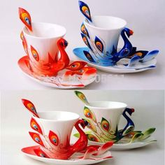 Cheap cup pink, Buy Quality tea cup stand directly from China tea cup coffee cup Suppliers: Super Porcelain Enamel Mugs Peacock Coffee Cup Fashion Ceramic Colored Drawing Creative Tea CupSize of