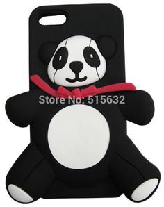 wholesale  3D stereo cartoon Cute Panda silicone cover cases for iPhone 4 4S 5 5G with LOGO