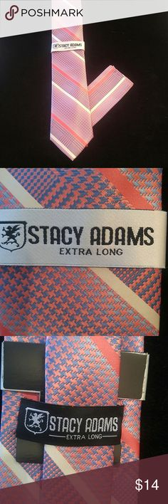 """MEN'S STACY ADAMS X-LONG TIE AND HANKY SET Coral, blue and ivory diagonal design 62"""" long X 3.5"""" wide 100% microfiber polyester Hand made in China STACY ADAMS Accessories Ties"""