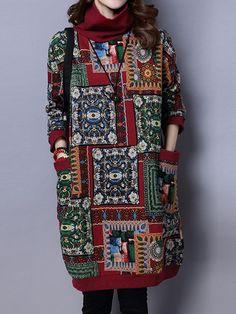 Las mujeres étnico vestido de algodón caliente de bolsillo Impreso de manga larga de cuello alto