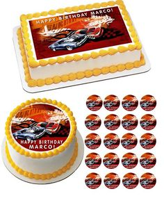 Hot Wheels Edible image cake and cupcake toppers