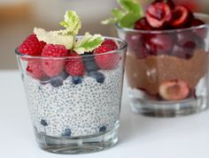 Chia Pudding with Almond Milk. Chia pudding gives you enough energy to start the day. Try Chia pudding with almond milk or add cacao and fresh fruit. (in Czech) Chia Puding, Granola Bars, Dessert Recipes, Desserts, Almond Milk, Fresh Fruit, Raspberry, Vegan Recipes, Brunch