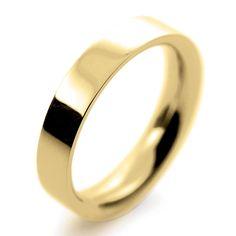 18ct Yellow Gold Wedding Rings Heavy Flat Court - 4mm