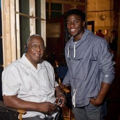 "Hank Aaron, the legendary Atlanta Braves baseball player, visits the ""42"" Movie Set in Atlanta, Georgia. On the right is Chadwick Boseman, who portrayed Jackie Robinson in Brian Helgeland's film."