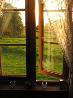 I Love Opening The Windows To The Beautiful Green Summer View! Summer Sunset, Norway photo via solah Window View, Open Window, Lace Window, Looking Out The Window, Summer Sunset, Summer Breeze, Summer Rain, Through The Window, Windows And Doors