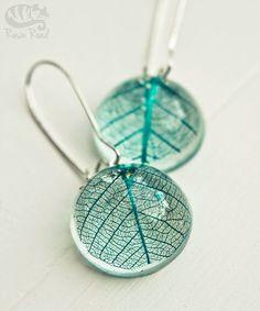 Blue/Aqua Earrings. Resin Earrings. French Hooks. Bubble. Skeleton Leaf. Angelic. Handmade Gift. Something Blue. Romantic. Summer.