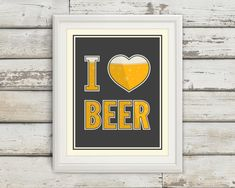 I Heart Beer, I Love Beer, Beer Artwork, Craft Beer, Beer, Bar Art, Man Cave, Brewer, Home Brew, Brewing, Kitchen Decor, Prints for the Home by BentonParkPrints on Etsy